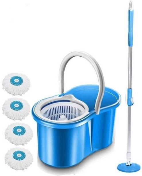 DAIVE 360° Spin Floor Cleaning Easy Advance Tech Bucket PVC Mop & Rotating Steel Pole Head with Wheels 4 Microfiber Refill (Blue) Mop Set