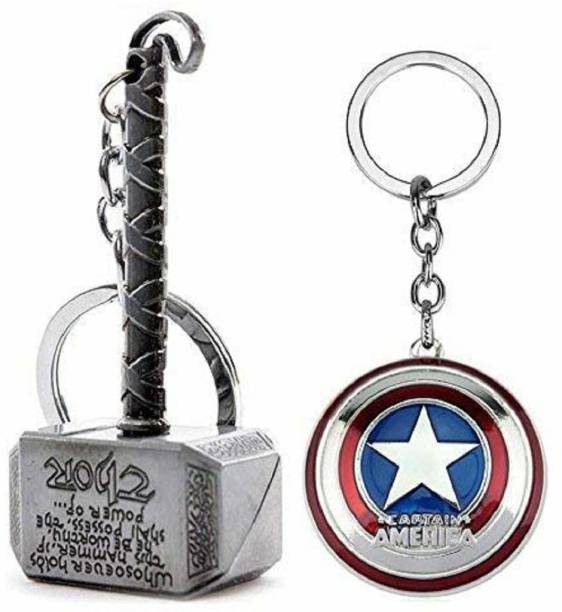 sawan shopping mart 1028Combo Pack Marvel Avengers Thor Captain America Silver Keychains and Key Rings Combo Assorted Color Key Chain