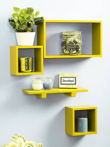Decorhand Wall Mount Set of 4 Yellow Wall Shelves Wooden Wall Shelf