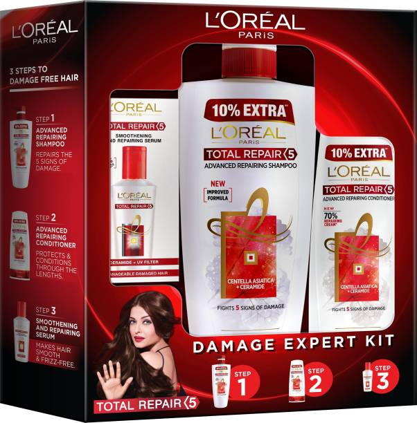 L'Oréal Paris Total Repair 5 Combo (Total Repair Shampoo, 704 ml + Total Repair Conditioner, 192.5 ml + Total Repair Serum, 40ml)