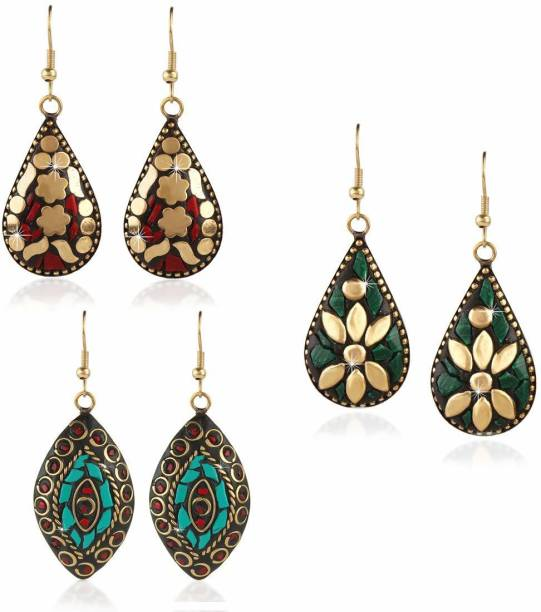 1d19341ba Yellow Chimes Handmade Tibetan Traditional COMBO of 3 Pairs Gold Plated Red  Green Blue