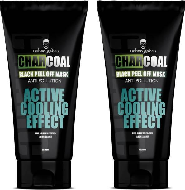 urbangabru CharCoal Peel Off Mask With Natural Ingredients Sulphate & Paraben Free| Deep skin cleansing Mask 60 GM (Pack of 2)