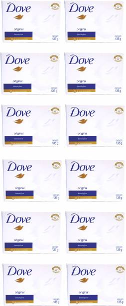 DOVE Imported (Made in Germany) Original Soap Beauty Bar, 135g each (1620 g, Pack of 12)