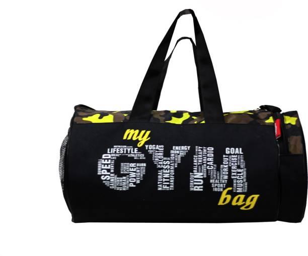 L'AVENIR Black/Yellow CAMOUFLAGE Pattern Multi-Purpose MY GYM BAG with Side Pocket