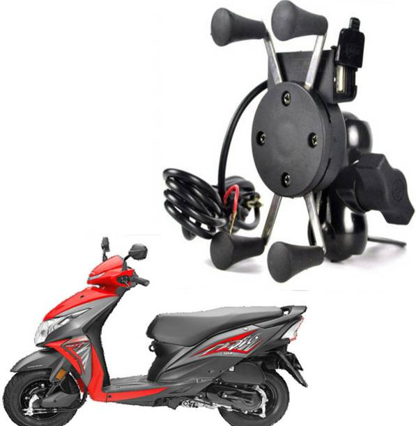 RWT X-Grip Mobile Phone Holder with USB Charger Bike Mobile Holder For Dio Bike Mobile Holder