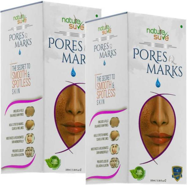 Nature Sure Pores and Marks Oil - 2 Packs (100ml each) for enlarged skin pores, stretch marks and fine lines