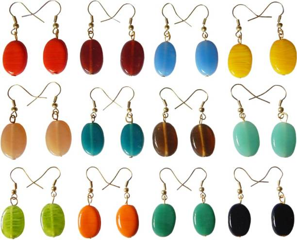 324fd774a vermahandicrafts Combo of 12 Pairs of Multicolour Glass Drop Earring,  Dangle Earring
