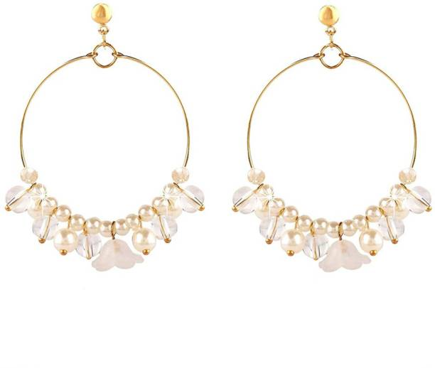 f4a09c7bb Divastri White Floral Latest Stylish Fashion Hoops Earrings Pearl Resin  Drop Earring