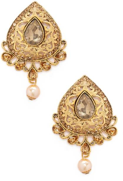 fe90af711 Rubans Gold Toned AD Studded Embellished With Pearls Earrings Metal Drop  Earring