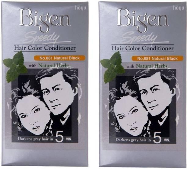 Bigen Speedy Hair Colour 881 Natural Black Pack Of 2 , Black