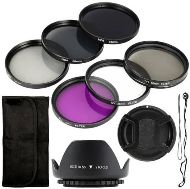SHOPEE 58 mm Saftey UV Cpl Fld Nd2 Nd4 Nd8 Nd16 10 Pieces Filter Kit + Lens Hood + Lens Cap+ CAP Holder for (1000D 1100D 600D 650D 1200D  Lens Hood
