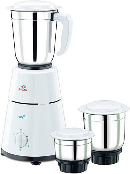 BAJAJ B00BMP97OC GX-1 500-Watt Mixer Grinder with 3 Jar 500 Mixer Grinder (3 Jars, White)
