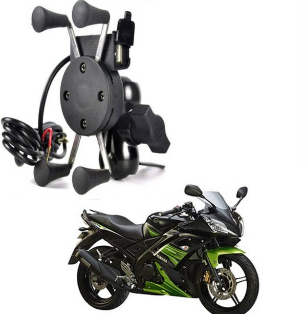 BRPEARl X-Grip Mobile Phone Holder with USB Charger For R15 Bike Mobile Holder