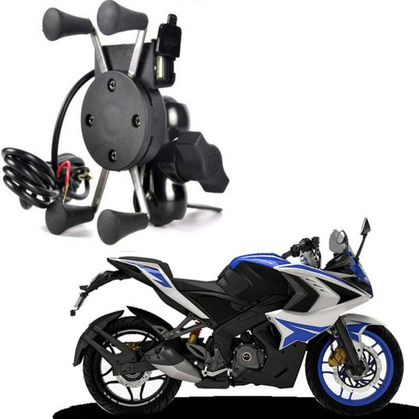 RWT X-Grip Mobile Phone Holder with USB Charger Bike Mobile Holder For Pulsar 220 DTS-i Bike Mobile Holder