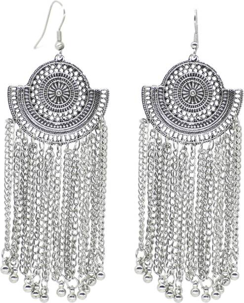 35334ac9a steeplook German Silver Bold Looking Stylish Chandelier Earrings With Long  Hanging Chains For Women And Girls