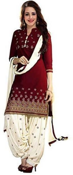Tee2 Fashion Cotton Embroidered Salwar Suit Dupatta   Waistcoat Material