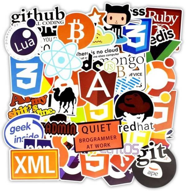 iDream Programming Language Software Geek Stickers (Pack of 50) Vinyl Laptop Decal 15