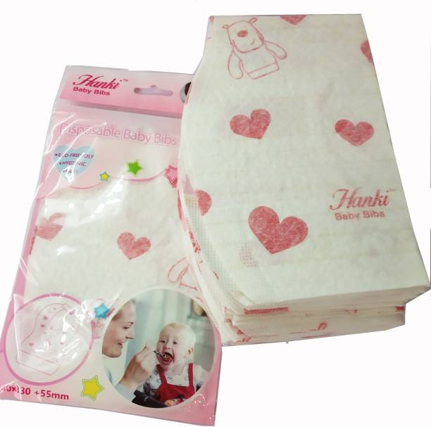 Hanki Disposable Baby Bibs for Infants and Kids for Easy Travel and Eco Friendly _ Pack of 20