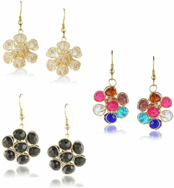 ffc3e8a51 Divastri Crystal Beads Combo of 3 Gold Plated Stylish Drop Earrings Set  Crystal Metal Drop Earring