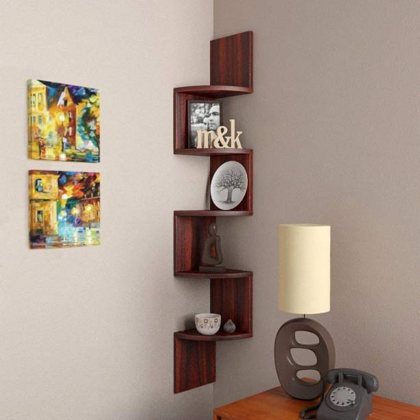 Furniture Cafe Zigzag Corner Wall Mount Shelf Unit/Racks and Shelves/Wall Shelf/Book Shelf/Wall Decoration (Matt Finish, Mahogany) MDF (Medium Density Fiber) Wall Shelf