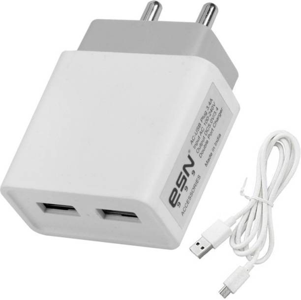 ESN 999 Fast 3.4 Amp Dual Port Fast Charger With Charge & Sync USB Cable 3.4 A Multiport Mobile Charger with Detachable Cable