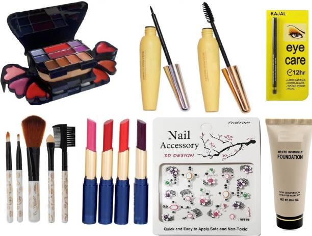 f2c3437f6d0a Prakritee 3746 Makeup Kit+4Pcs Lipstick+5Pcs Makeup  Brush+Foundation+Eyecare Kajal+