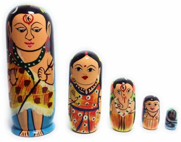 CRAFT HAND Lord Shiva Family Wooden Nesting Doll (Shiv,Parvati, Ganesh & Kartikey) Set of 5 Pcs