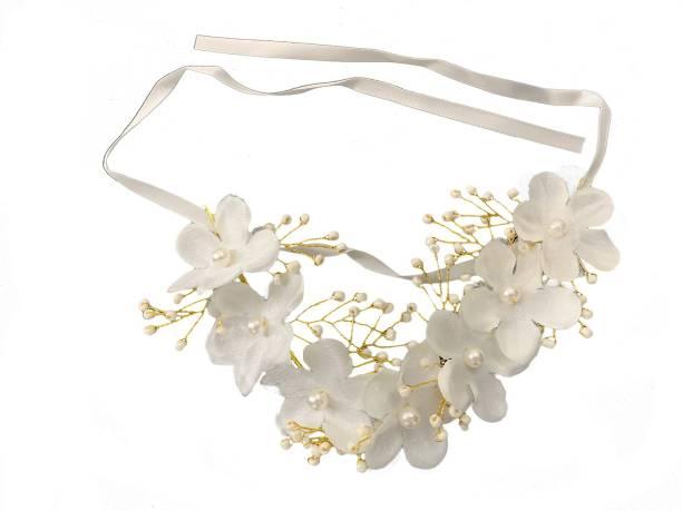 Futurekart Pearl Bead Flower Headwear Women's Hair Bridal Wedding Handmade Accessories Hair Chain