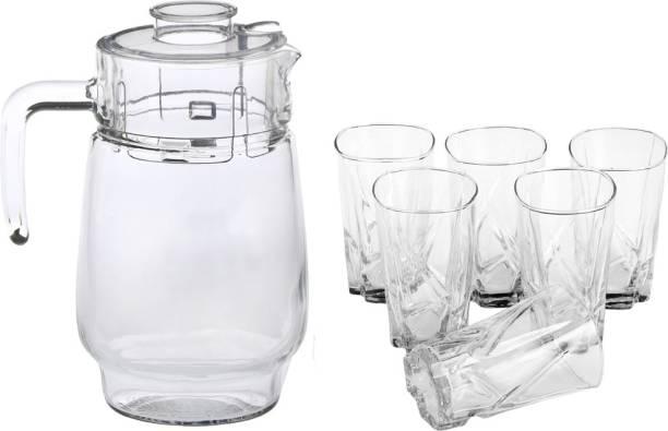 Afast New Designer Drinking Set Of One Jar With Lid & Six Glass Transparent & Clear-JG57 Jug Glass Set