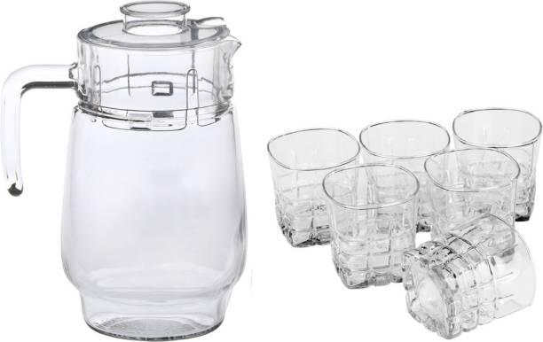 Afast New Designer Drinking Set Of One Jar With Lid & Six Glass Transparent & Clear-JG61 Jug Glass Set