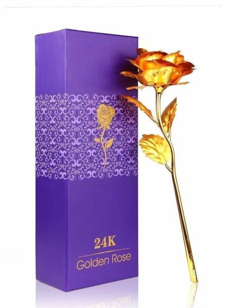 NP Great Valentine's Gift 24K with Gift Box and Carry Bag Orange Rose Artificial Flower