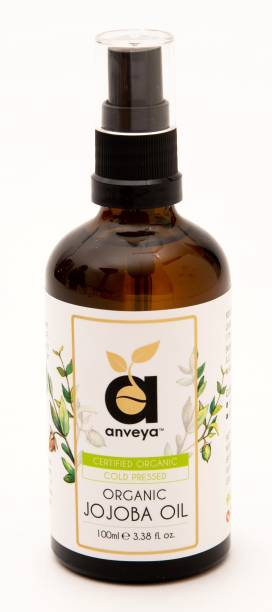 Anveya Jojoba Oil, 100 ml, 100% Organic and Cold Pressed, For Skin and Hair