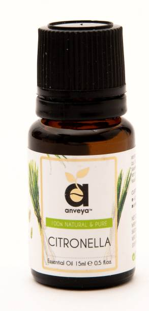 Anveya Citronella Essential Oil, 15 ml, 100% Natural & Pure For Repeling Insects, Aromatherapy and Hair