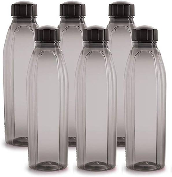 cello Crystal PET Bottle Set, 1 Litre, Set of 6, Black 1000 ml Bottle