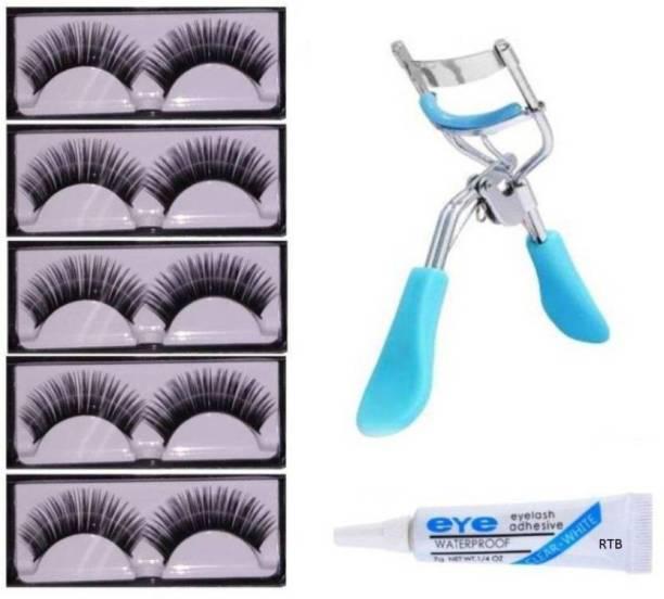 RTB False Eyelashes-Set of 5, Eyelashes Glue & Eyelash Curler (Pack of 7)