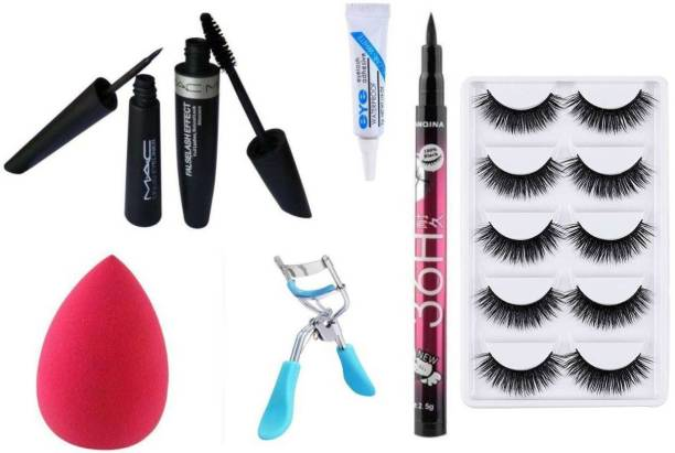 RTB Combo of Mascara,Eyeliner,Glue,Beauty Blender,Eyelash Curler, 5 pair Eyelash