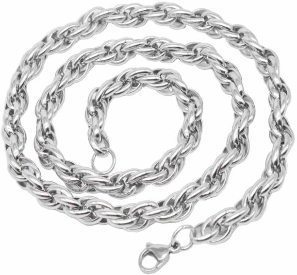 Sullery 8 mm 316L Rope Link Sterling Silver Plated Stainless Steel Chain