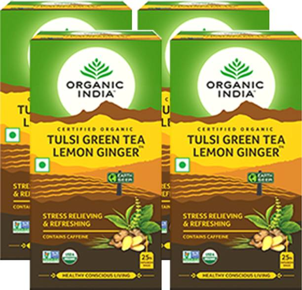 ORGANIC INDIA Tulsi Green Tea Lemon Ginger 25 Tea Bags- (Pack Of 4) Lemon Green Tea Bags Box