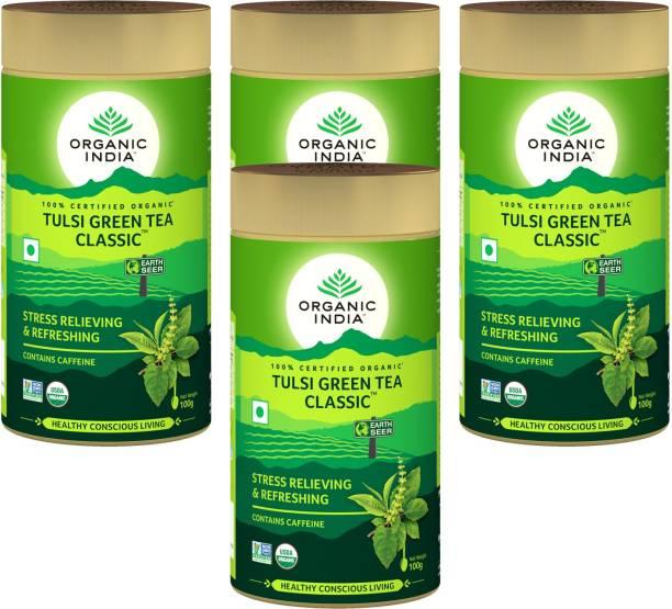 ORGANIC INDIA Tulsi Green Tea Classic 100 GM Tin- (Pack Of 4) Tulsi Green Tea Drum