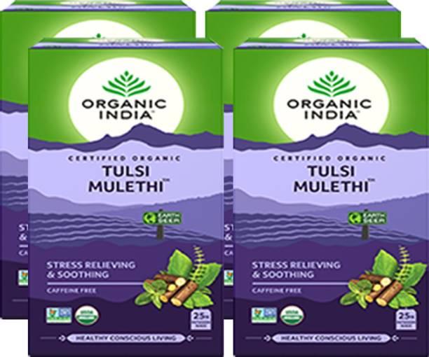 ORGANIC INDIA Tulsi Mulethi 25 Tea Bags- (Pack Of 4) Tulsi Herbal Tea Bags Box