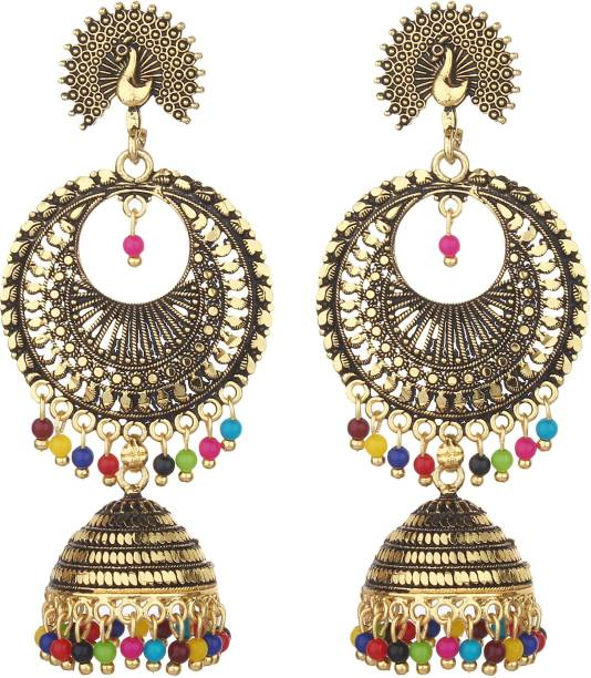 f9c105a79 styles creation Stylish, Designer Peacock Jhumki Earrings ARTFLJWL177 Beads  Alloy, Crystal Jhumki Earring