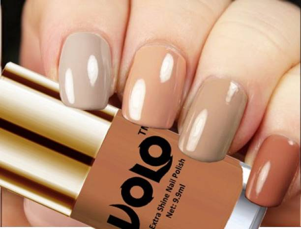 Volo HD Colors High-Shine Long Lasting Non Toxic Professional Nail Polish Set of 4 Nude Tude