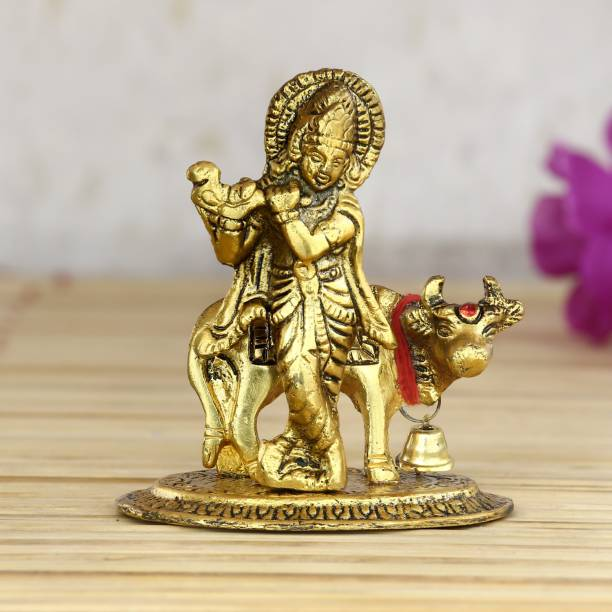 eCraftIndia Lord Krishna playing Flute with Golden Cow Decorative Showpiece  -  9 cm