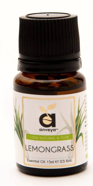 Anveya Lemongrass Essential Oil, 15ml, 100% Natural & Pure, For Skin, Hair & Aromatherapy