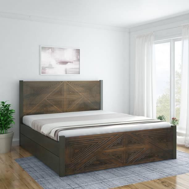 InLiving Angular Sheesham Drawer Solid Wood King Drawer Bed