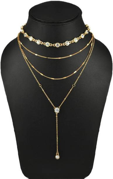 1e227a41a909 Yellow Chimes Fashion Modern Gold Plated Collar Necklace Crystal Gold-plated  Plated Alloy Necklace