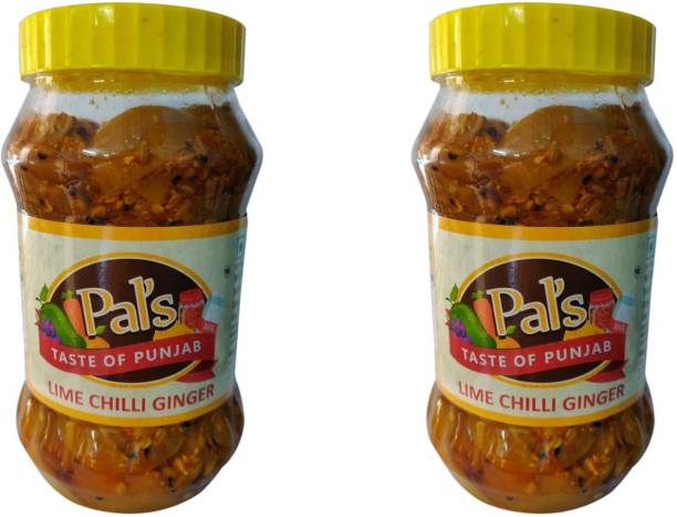 Pals The Taste Of Punjab Ready to Eat Lime Chilli Ginger Pack of 2 Ginger, Lime, Green Chilli Pickle