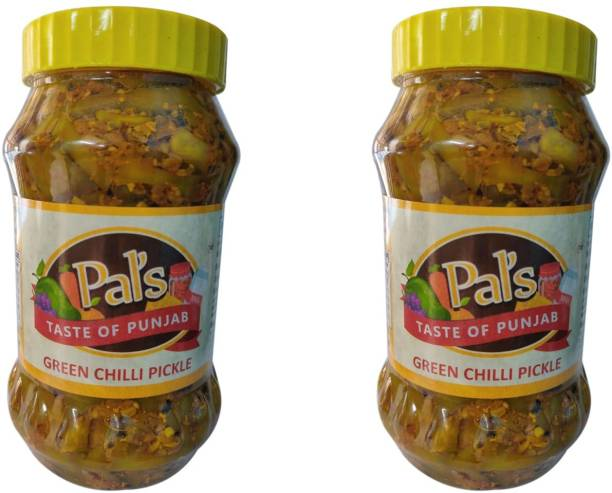 Pals The Taste Of Punjab Ready to Eat Green Chilli Pickle Pack of 2 Green Chilli Pickle