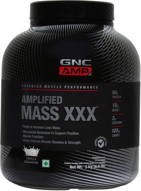 GNC AMP Mass XXX Gainer Powder (Vanilla Flavour) - 3 Kgs Weight Gainers/Mass Gainers