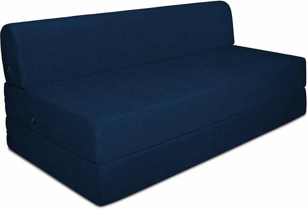 Aart Store Three Seater Sofa Cum Bed High Density Foam Blue Color Single Sofa Bed